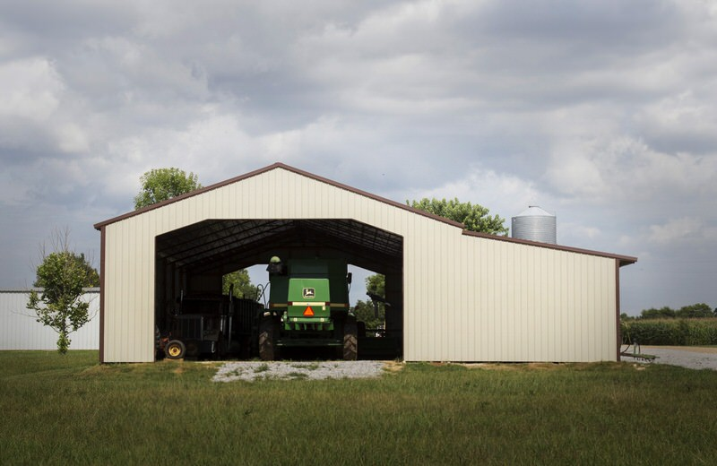 Light Stone and Cocoa Brown Enclosed Pole Barn Metal Building with Lean-to - BR-20