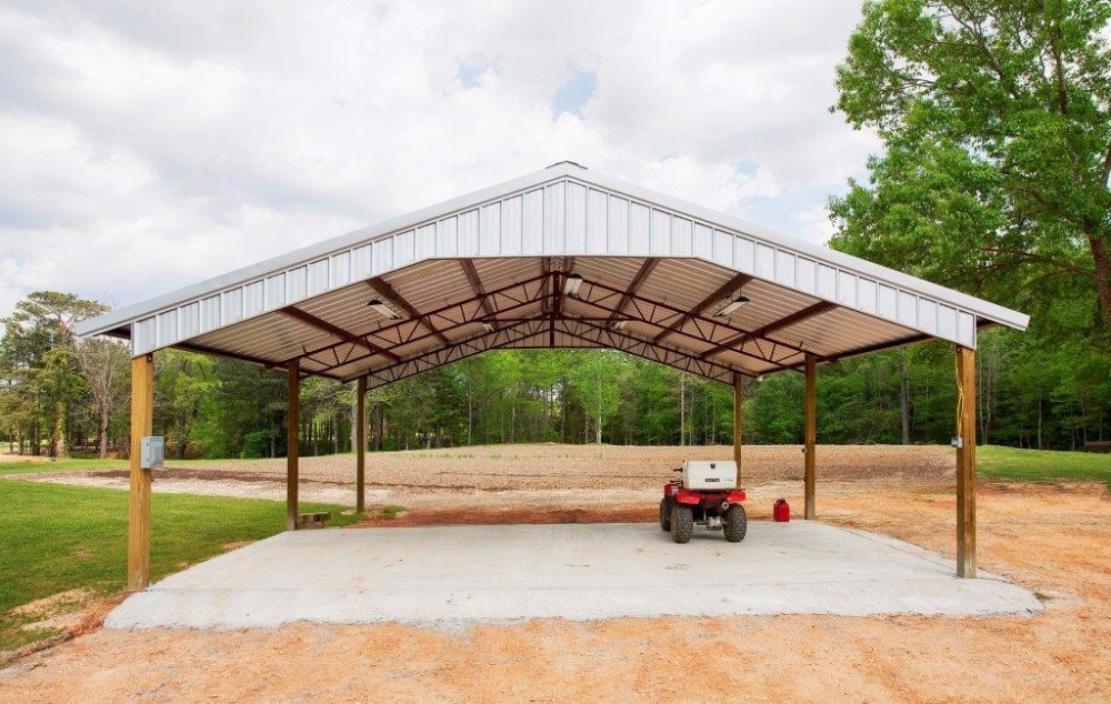 Galvalume 30' x 30' (W x L) Open Pole Barn Metal Building - BR-22