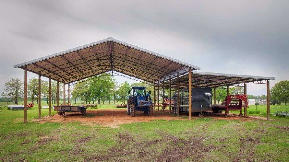 Galvalume 50' x 60' (W x L) Open Pole Barn Metal Buildiing with 20' x 60' Lean-to - BR-23
