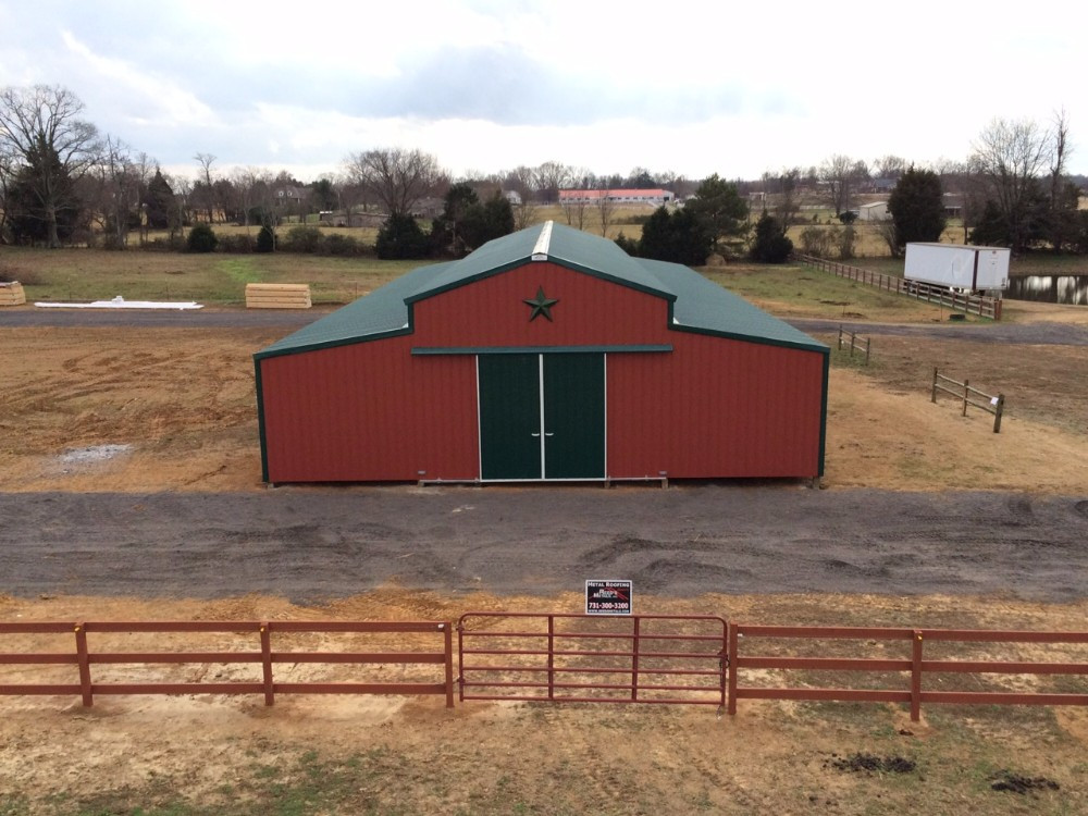 Barn Red and Forest Green Encosed Pole Barn Metal Building - BR-14