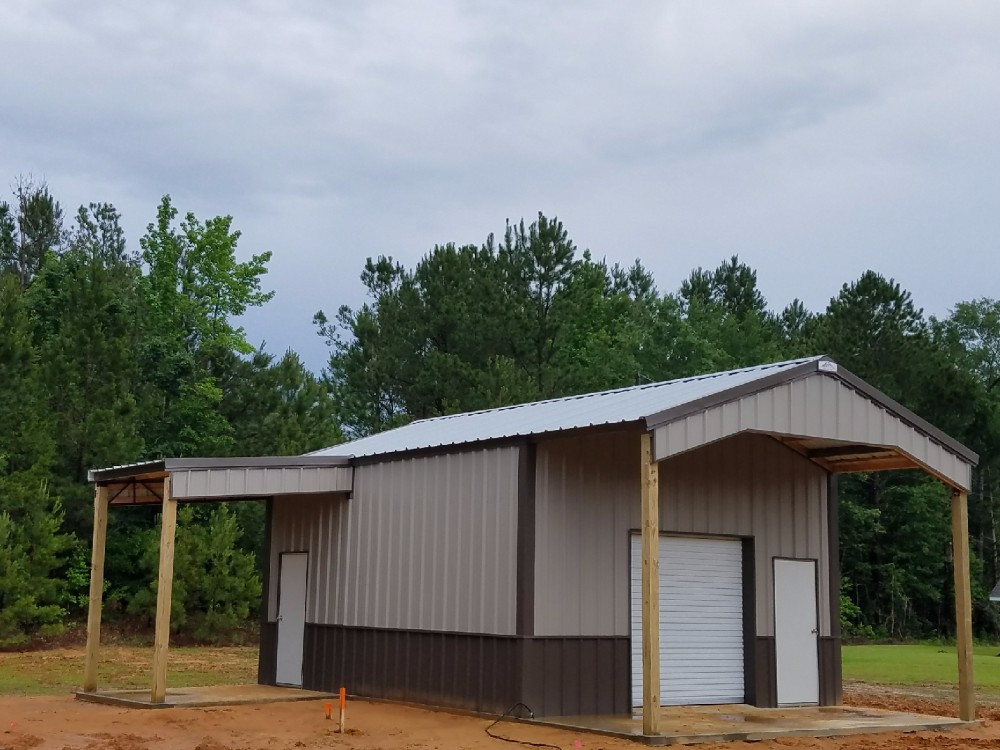 Old Town Gray/ Clay/ Burnished Slate 20x32x11 Pole Barn with Roof Extension & Canopy Images