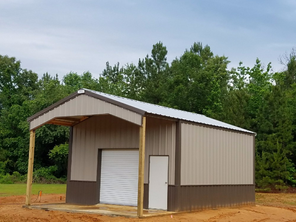 Old Town Gray/ Clay/ Burnished Slate 20x32x11 Pole Barn with Roof Extension & Canopy - TU-33