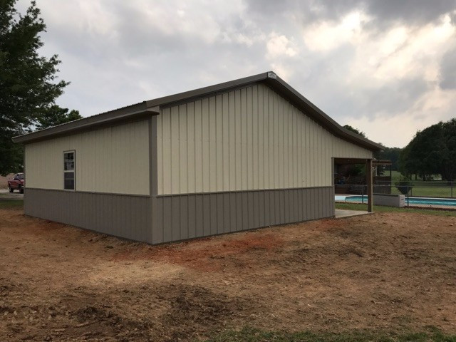 Light Stone/ Clay 24x30x10 Enclosed Pole Barn with 10x30 Lean-To  Images