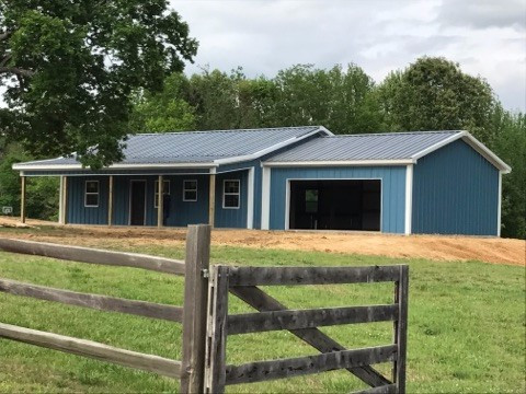 Hawaiian Blue/ Charcoal Gray/ Polar White 30x40x10 Pole Barn House with 8' Porch & 24x24x10 Garage Images