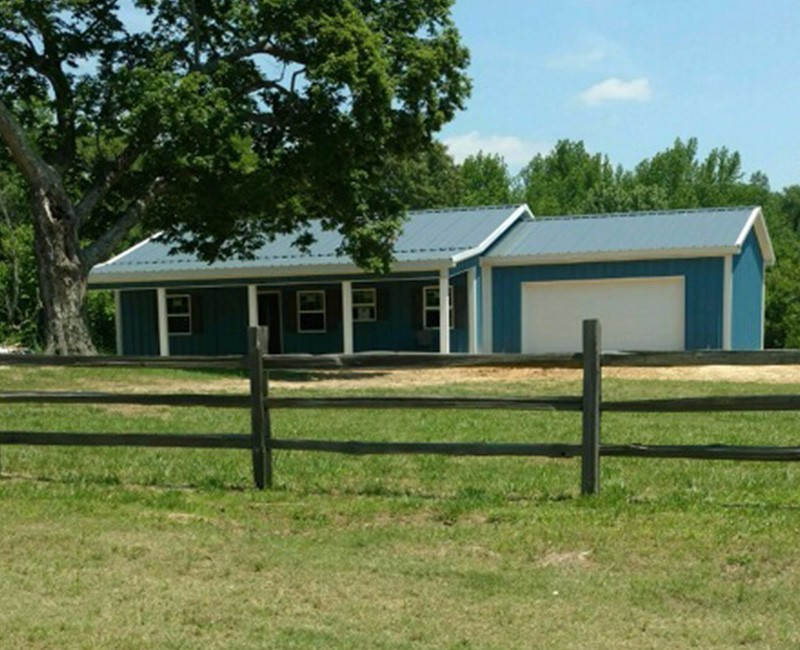 Hawaiian Blue/ Charcoal Gray/ Polar White 30x40x10 Pole Barn House with 8' Porch & 24x24x10 Garage - JX-38