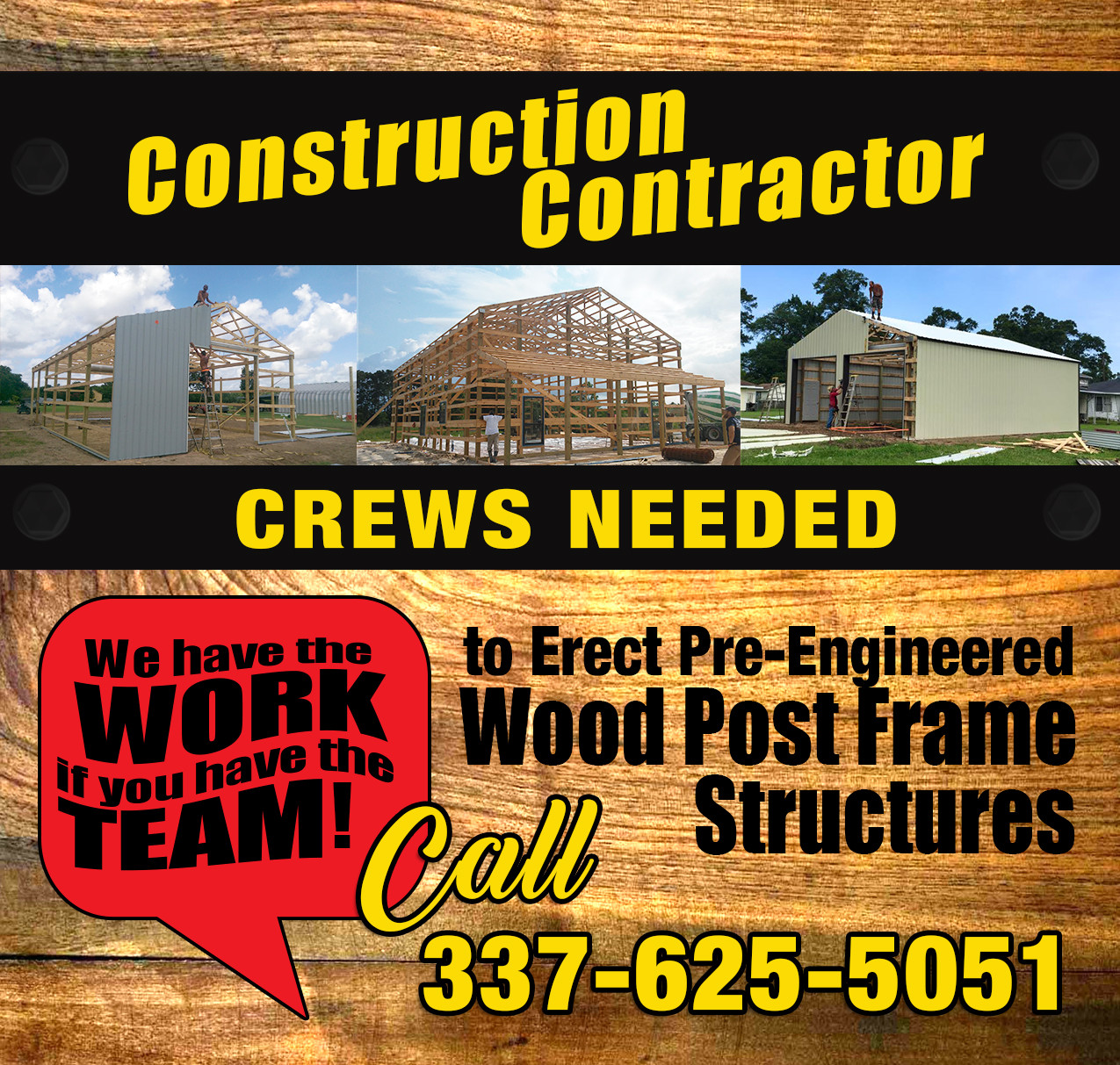 Construction Contractor Crews Needed