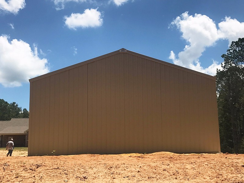 Light Stone 30x30x12 Enclosed Pole Barn w/ 12x30 Roof Extension Images