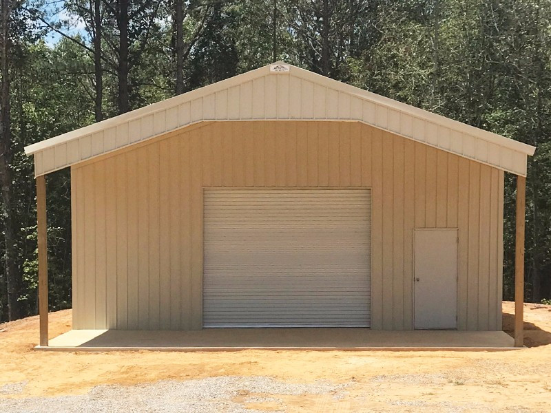 Light Stone 30x30x12 Enclosed Pole Barn w/ 12x30 Roof Extension - TU-41