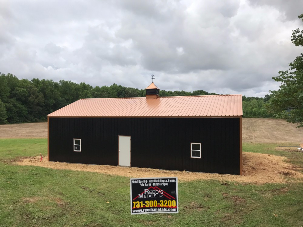 Metallic Copper/Black 30x48x12 Pole Barn Images