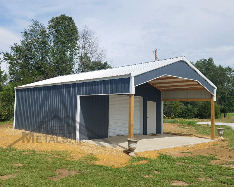 Charcoal Gray/Polar White 24x26x10 Enclosed Pole Barn with 12x24x10 Roof Extension Images