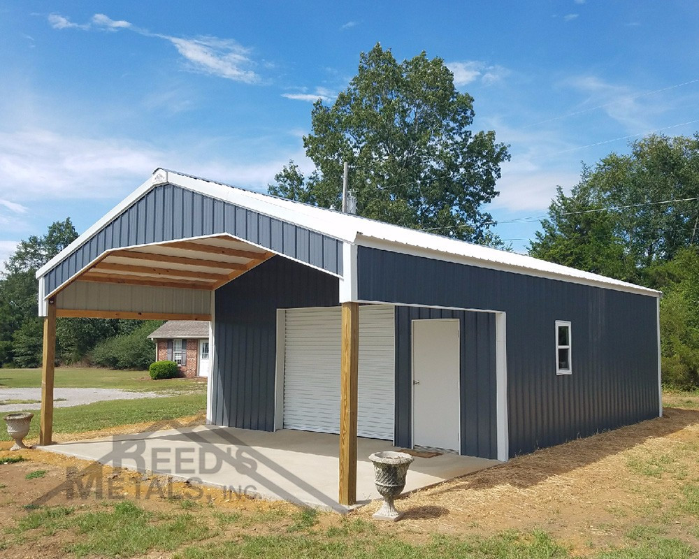 Charcoal Gray/Polar White 24x26x10 Enclosed Pole Barn with 12x24x10 Roof Extension - TU-46