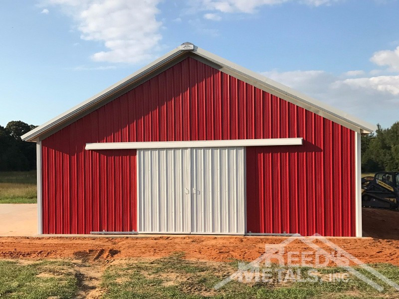 Old Town Gray/Polar White/Patriot Red Enclosed Pole Barn Images