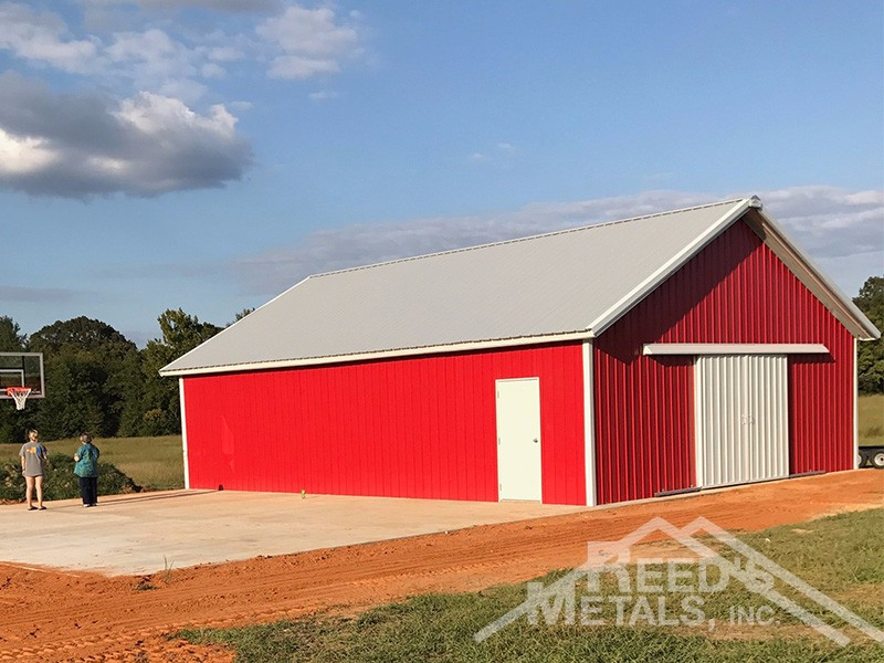 Old Town Gray/Polar White/Patriot Red Enclosed Pole Barn - TU-49