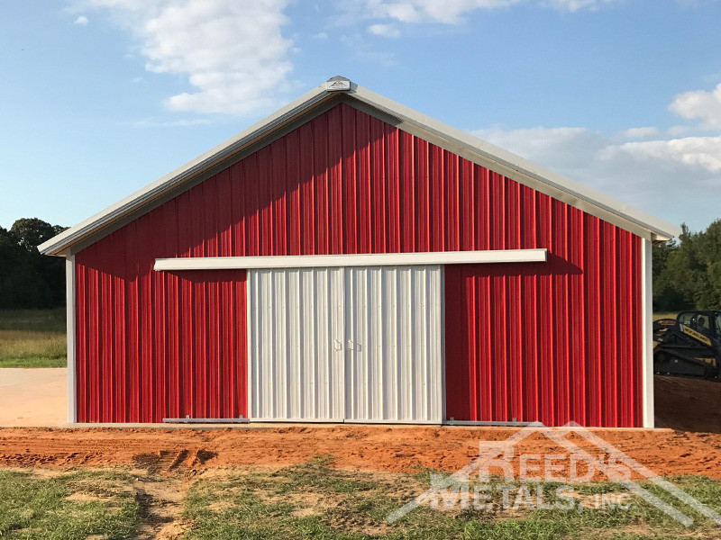 Old Town Gray Polar White Patriot Red Enclosed Pole Barn
