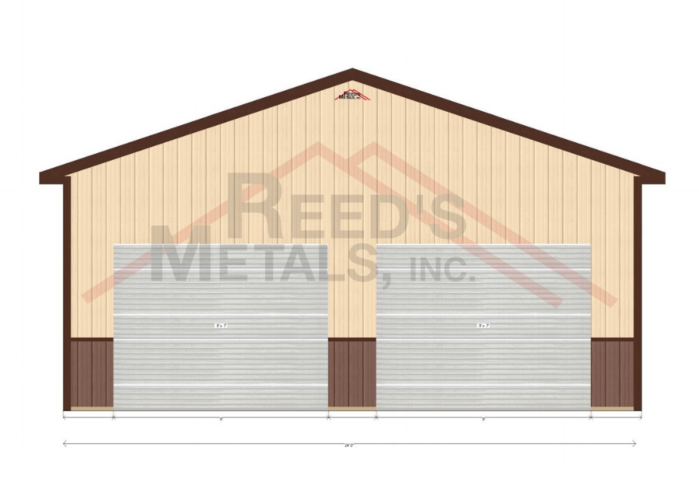 Clay/Burnished Slate Enclosed 24x26x10 Pole Barn Images