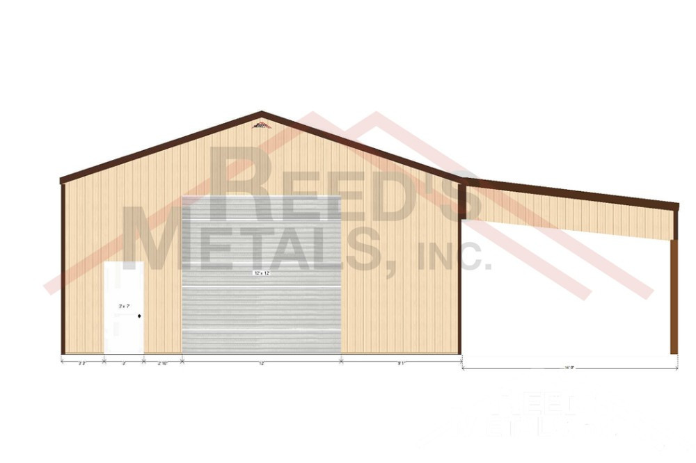Clay/Burnished Slate 30x40x13 Enclosed Pole Barn with 16x40 Roof Only Lean-To Images
