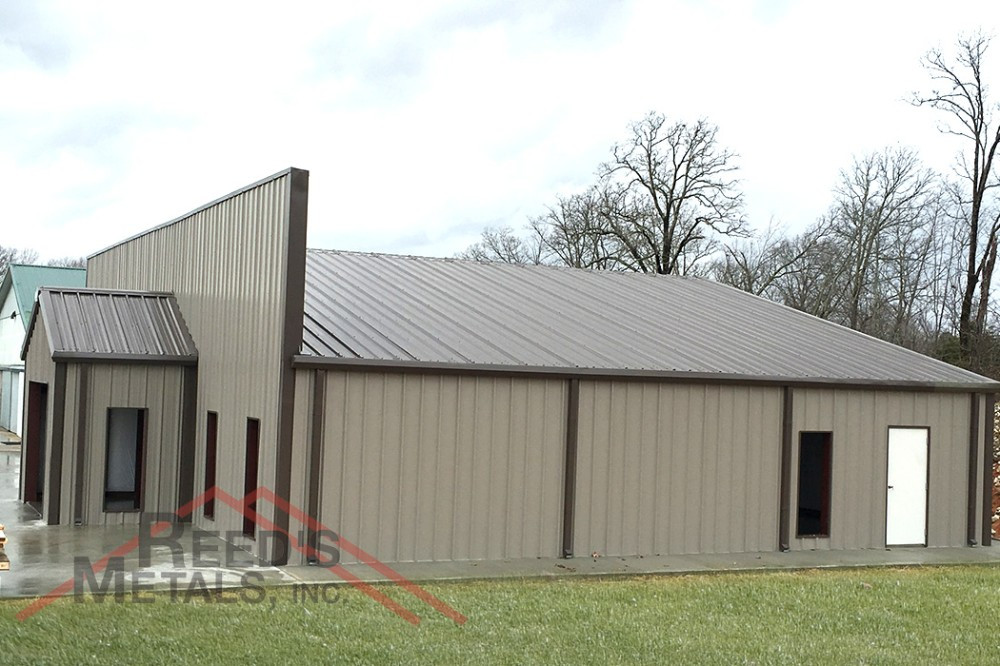 Clay/Burnished Slate 65x45x10 Commercial Rigid Frame Building with Parapet Wall Images