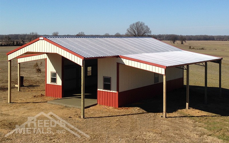 Galvalume/Barn Red/Ivory Enclosed 24x30x12 Pole Barn with 10' Roof Extension & 2 - 10' Lean-To's - JX-72