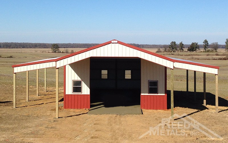 Galvalume/Barn Red/Ivory Enclosed 24x30x12 Pole Barn with 10' Roof Extension & 2 - 10' Lean-To's Images