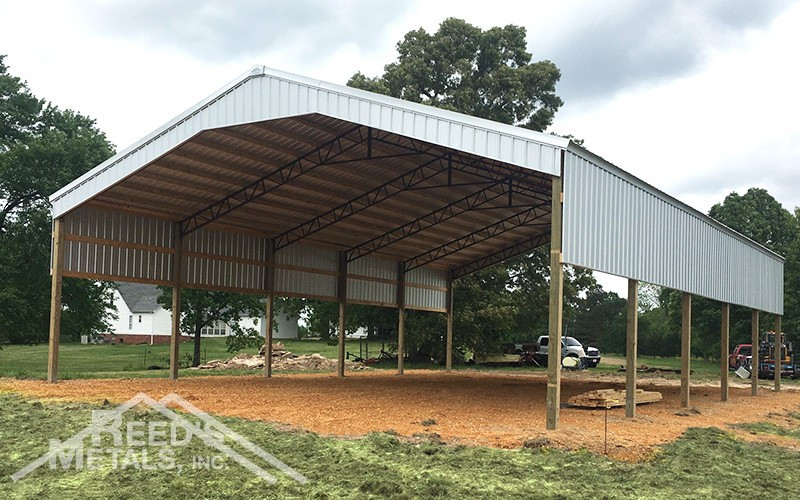 Galvalume 40x60x14 Roof Only Pole Barn with Partially Sheeted Walls - JX-73