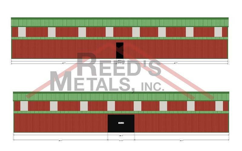 Barn Red/Forest Green 20x96x14 Enclosed Pole Barn with 2 - 12.5x96 Enclosed Lean-To's Images