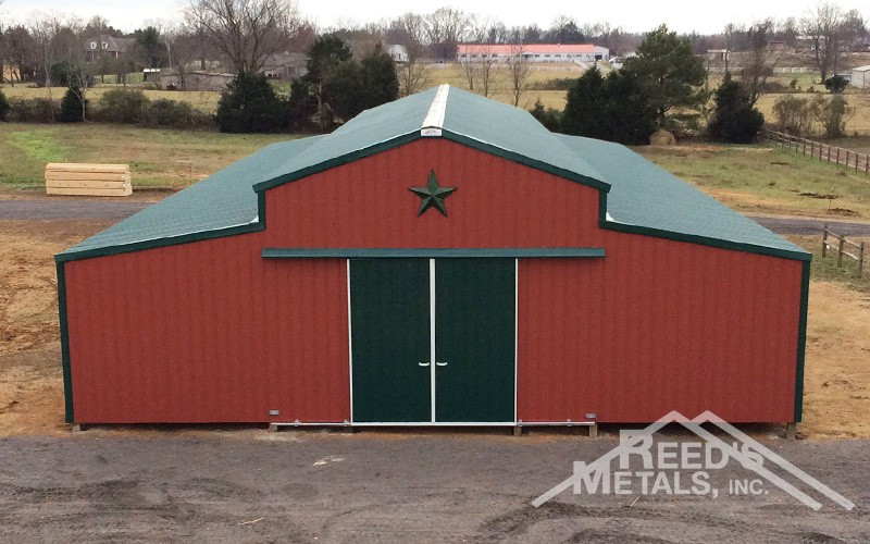 Barn Red/Forest Green 20x96x14 Enclosed Pole Barn with 2 - 12.5x96 Enclosed Lean-To's - JX-14