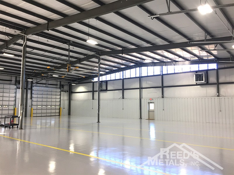Galvalume/Forest Green/Pure White 100x118x20 Rigid Frame Commercial Building with 2 - 30x118 Lean-To's Images