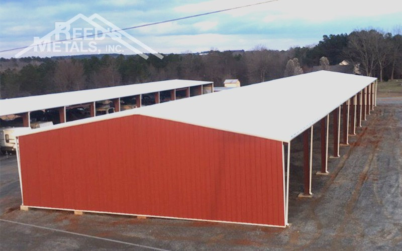 Galvalume/Barn Red/Polar White 60x220x16 Commercial Partially Enclosed Rigid Frame - JX-75