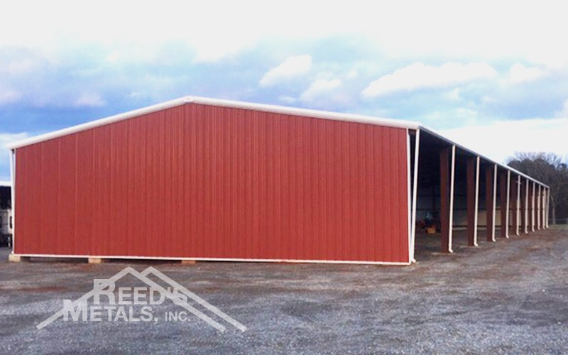 Galvalume/Barn Red/Polar White 60x220x16 Commercial Partially Enclosed Rigid Frame Images