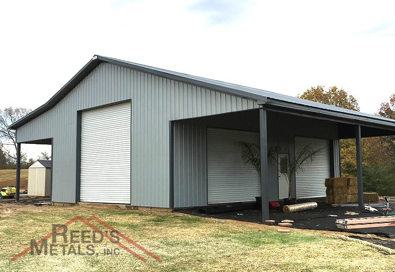 Charcoal Gray/Old Town Gray 30x40x16 Enclosed Pole Barn with 2 - 14x40 Lean-To's - TU-79