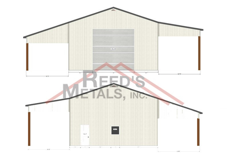Charcoal Gray/Old Town Gray 30x40x16 Enclosed Pole Barn with 2 - 14x40 Lean-To's Images