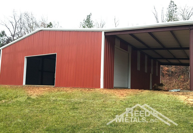 Barn Red/Polar White 50x60x15 Enclosed Rigid Frame Building with 20x60 Lean-To & Gutters and Downspouts - JX-80