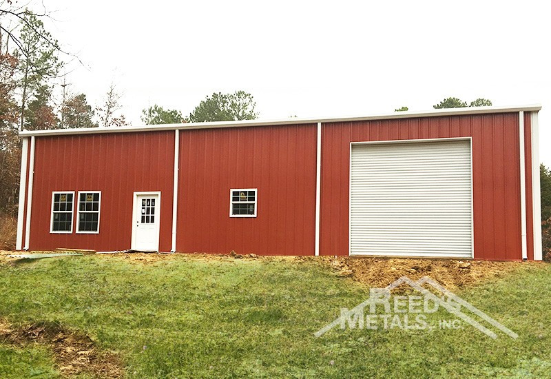 Barn Red/Polar White 50x60x15 Enclosed Rigid Frame Building with 20x60 Lean-To & Gutters and Downspouts Images