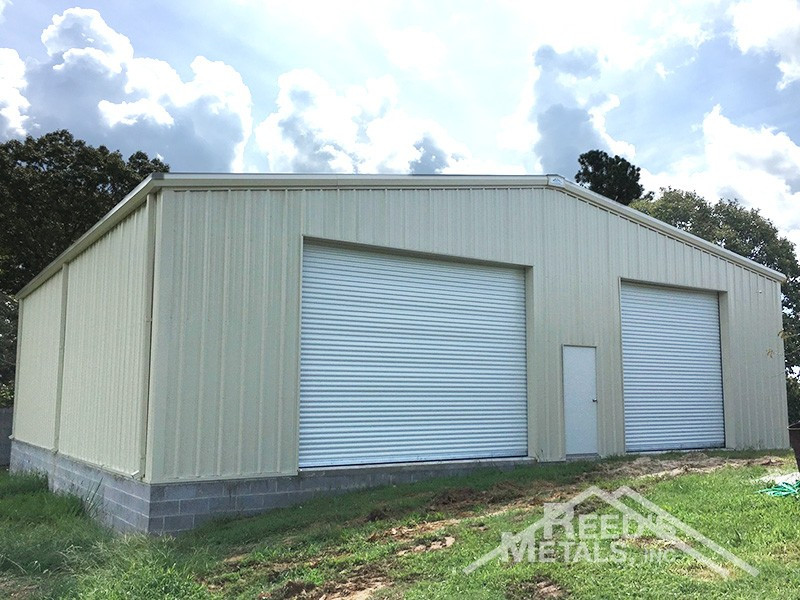 Galvalume/Light Stone 50x50x14 Enclosed Rigid Frame Shop with Gutters & Downspouts - TU-81