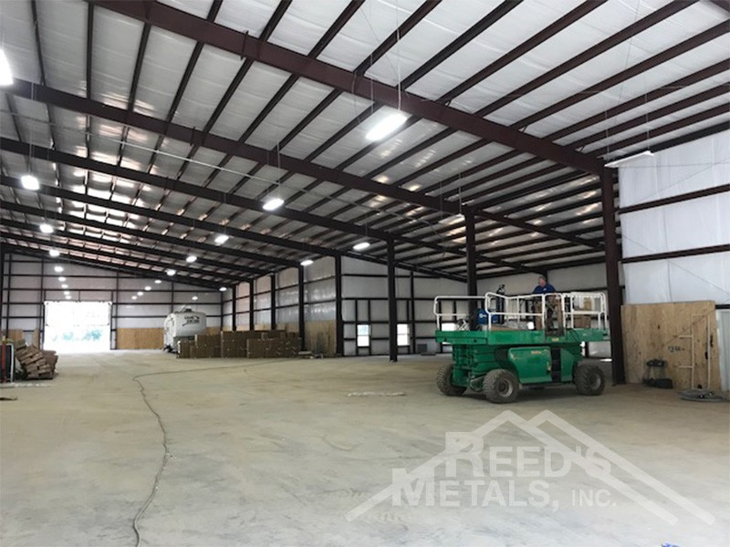 Galvalume/Light Stone/Patina Green 150x250x24 Rigid Frame Commercial Building with 30x75 Lean-To Images
