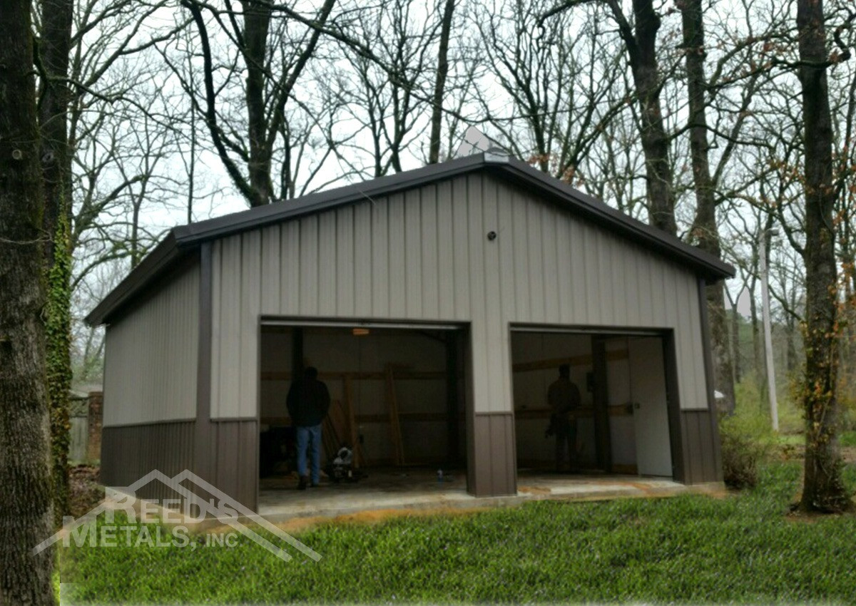 Clay Burnished Slate Enclosed 24x26x10 Pole Barn Reed S