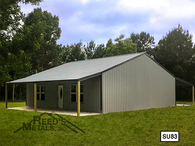 Light Gray 40' x 40' Enclosed Post Frame Building  - SU-83