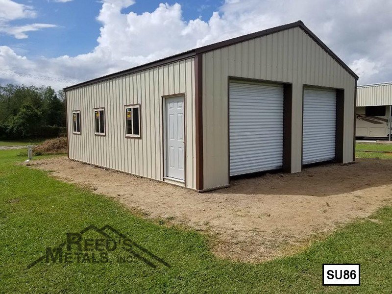Light Stone 20' x 30' Enclosed Post Frame Building  - SU-86