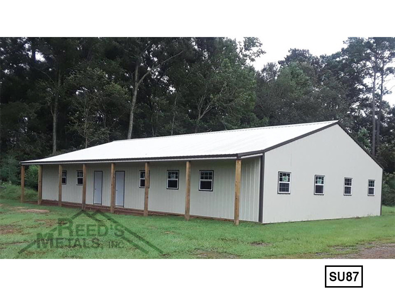 Light Stone 40' x 70' Enclosed Post Frame Building - SU-87