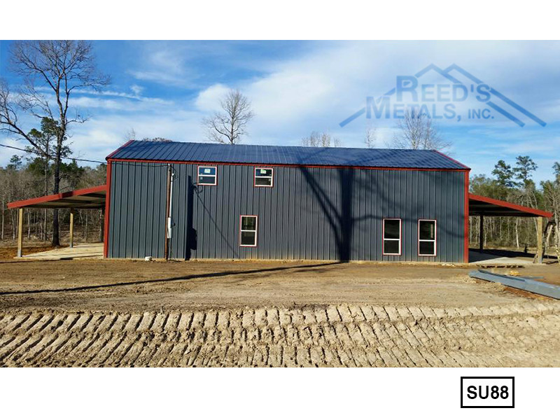 Hawaiian Blue 30' x 60' Enclosed Post Frame Building Images