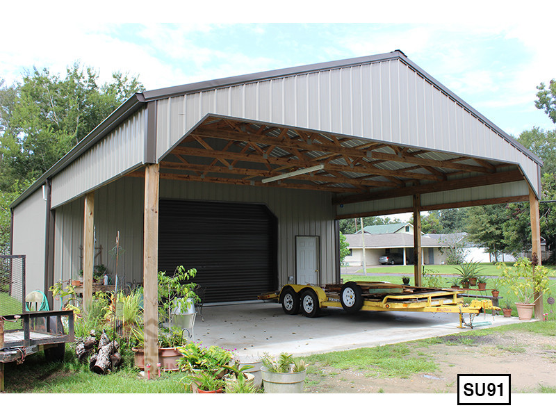 Light Stone 30' x 30' Enclosed Post Frame Building - SU-91