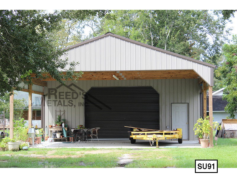 Light Stone 30' x 30' Enclosed Post Frame Building Images