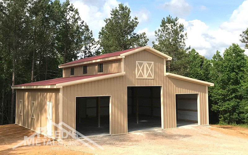 Barn Red/Mocha Tan/Ivory 12x36x18 Enclosed Pole Barn w/ 2 - 14x36x14 Lean-To's Images