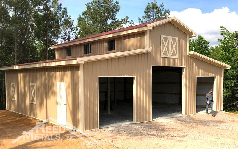 Barn Red/Mocha Tan/Ivory 12x36x18 Enclosed Pole Barn w/ 2 - 14x36x14 Lean-To's - JX-94