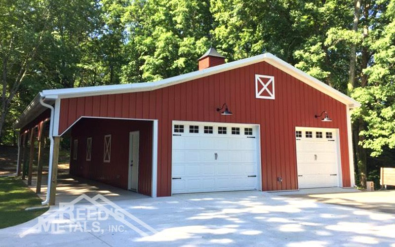 Black/Barn Red 30x48x12 Enclosed Pole Barn w/ 10x48 Lean-To Images