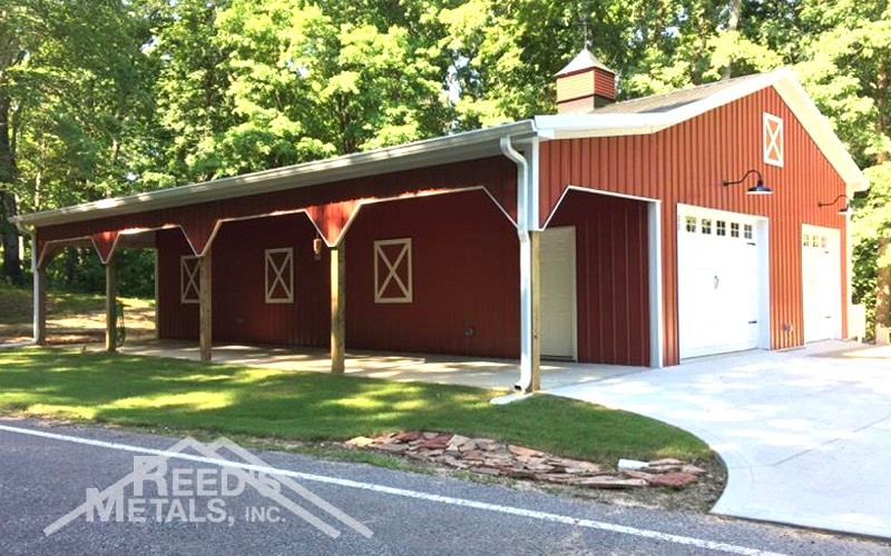 Black/Barn Red 30x48x12 Enclosed Pole Barn w/ 10x48 Lean-To - JX-95